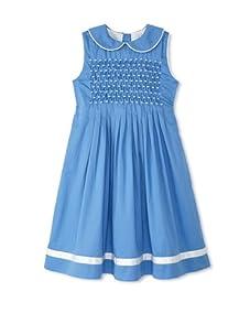 Rachel Riley Girl's Pleated Smock Dress (Blue)
