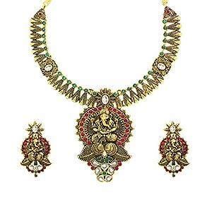 Zaveri Pearls Gold Metal Jewellery Choker Necklacewith Earring Set For Women-Zpam17