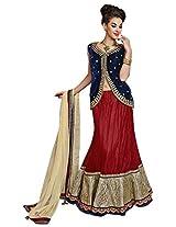 Mahotsav Women's Net Lehenga Saree (6618, Red)