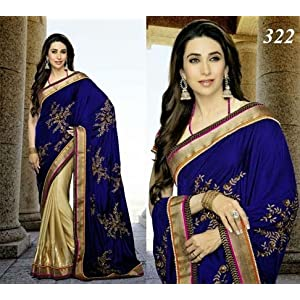 Bollywood Replica Karishma Kapoor Silk Velvet and Jacquard Saree In Blue and Beige Colour 1156
