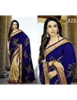 Bollywood Replica Karishma Kapoor Silk Velvet and Jacquard Saree In Blue and Beige Colour 1156