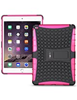 Heartly Flip Kick Stand Spider Hard Dual Rugged Armor Hybrid Bumper Back Case Cover For Apple iPad 6 Air 2 Tablet - Cute Pink