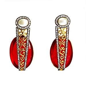 Daamak Jewellery Pearl And Red Statement Earrings