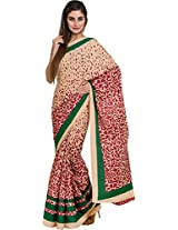 Parchayee Women's Synthetic Saree (94156B, Beige, Free Size)