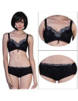 Princess Dream Embroidered-Padded Under-Wired Bra Set. (34)