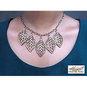 Under the Feather Charm Necklace- Bronze Leaves