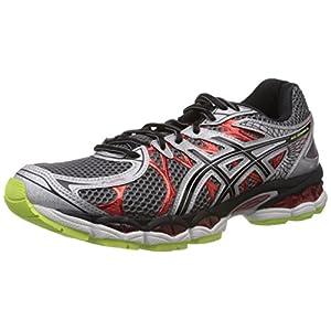 Asics Men's Gel-Nimbus 16 Black and Red Mesh Running Shoes - 10 UK