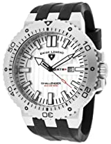 Swiss Legend Men's 10126-02S Challenger White Textured Dial Black Silicone Watch