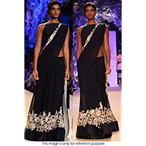 Ninecolours LD0400082 Bollywood Replica Lehenga - Black