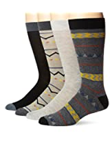 Lucky Men's 4 Pair Pack Native Geo Crew Socks, Black, 10-13/Shoe Size 6-12