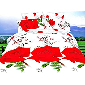 Story@Home  3D Red Rose Impression Polycotton Bedsheet with 2 Pillow Covers - King Size, Multicolor (AIM1204)