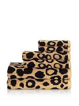 Famous International Leopard 6 Piece Towel Set, Gold/Black