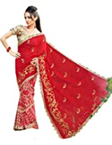 Red Wedding Wear Brasso Georgette Sari Pallu Zari Work Saree