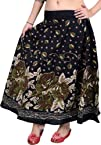 Caviar-Black Printed Skirt with Printed Flowers and Embroidered Sequins - Pure Cotton