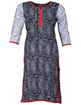 Bunkaari India Women's Cotton Regular Fit Kurti (00LK 26_44, Black and white, 44)