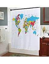 180*180cm World Map Pattern Waterproof Polyester Shower Curtain