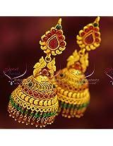 Broad Grand Temple Kemp Style Design Ruby Beads Hangings Dulhan Jhumka Buy Online