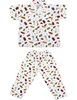 Little Stars Boys' Top and Pyjama Set (Nightsuit_Supperwow_5-6 years, White, 5-6 years)