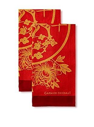Garnier-Thiebaut Set of 2 Chevre de Bois 2015 Kitchen Towels, Rouge