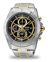 Seiko Lord Chronograph Black Dial Two-tone Men's Watch (SNDE70)