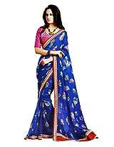 Gopalclothdesigner Georgette Resham Saree (iwgy40_Blue)