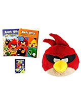Maven Gifts: 1 Assorted Angry Birds Mission Coloring And Activity Book With Angry Birds Space 8 Inch Red Bird With Sound