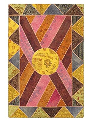 Oak Rugs Hand-Knotted Antiqua Wool Rug, Dark Red/Yellow, 4' x 6'