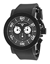 Cyclone Chronograph Black Dial And Silicone Strap White Accents (30465-Bb-01-Wa)