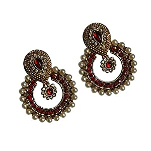 Unicorn Metal Dangle & Drop Earings For Women ( Red )