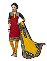 Jevi Prints Red & Yellow Cotton Printed Unstitched Dress Material