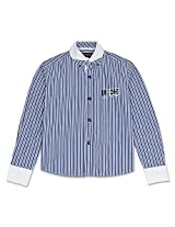 Full Sleeve Button Down Striped Boys Shirt Blue