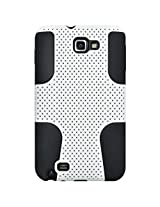 Amzer 93986 Silicone-Perforated PolyCarbonate Hybrid Case - Black/ White for Samsung Galaxy Note