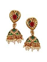 Habors Gold Plated Green Sana Meenakari Jhumki Earrings with Pearls