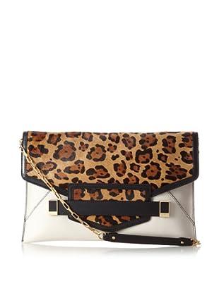 Rafé Women's Sarina Oversize Envelope Clutch, Camel Leopard/White