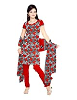 Sonal Trendz Women's Polyester Red Printed Dress Material