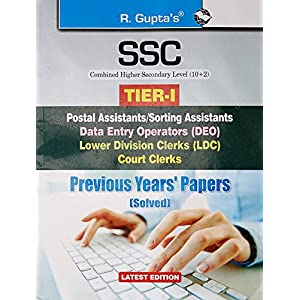 SSC (10+2) Level: Postal Asstt., Sorting Asstt., DEO, LDC Previous Years Papers & Practice Test Papers (Solved)