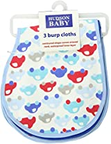 HudsonBaby Curved Burp Cloth, Blue Car, 3-Count