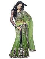 Mahotsav Women's Viscose Lehenga Saree (2319, Green, Blue)