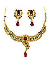 Surat Diamond Multi-Colour Metal Jewellery Set For Women (SDJ - PS-95)
