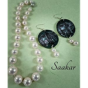 Saakar Polymer Clay And Pure Pearls Jewellery Set
