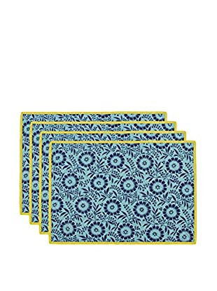 KAF Home Set of 4 Colette Placemats, Aqua/Yellow