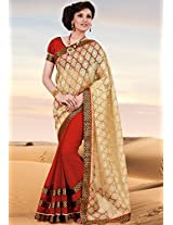 Red Embellished Saree Bahubali