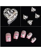 Jovana 10 Pcs 3 D Alloy Clear Rhinestones Heart Nail Art Glitters Slices Diy Decorations