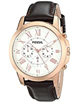 Fossil Mens FS4991 Grant Chronograph Leather Watch - Brown