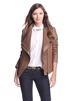 Elie Tahari Women's Virginia Asymmetrical Leather Jacket (Sand)