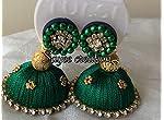 Green silk thread jhumka by Sayee creation