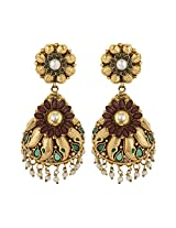 Dilan Jewels PURE Collection Red Green Antique Gold Plated Half Jhumka Earrings For Women