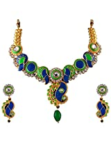 Vivanta Multi-Coloured Gold Plated Necklace And Earrings Set For Women (VD-N109)