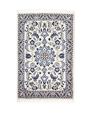 L'Eden del Tappeto Alfombra Nain K Beige / Azul 90t x t60 cm