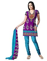 Varshia Womens Synthetic Unstitched Salwar Suit Dress Material (Vp02 _Wine _Free Size)